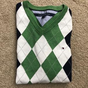 TOMMY HILFIGER green argyle v-neck sweater LARGE